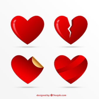 Icônes coeur set, symboles d'amour