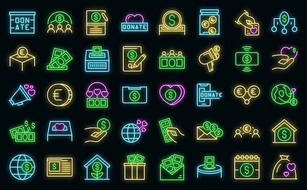 Les icônes de collecte de fonds définissent le vecteur de contour. contribuer faire un don. don de bienfaisance