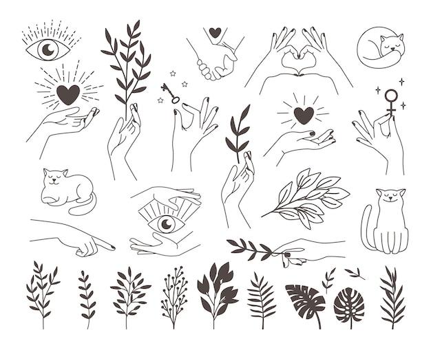 Icônes de collection mains magiques avec illustrations mystiques