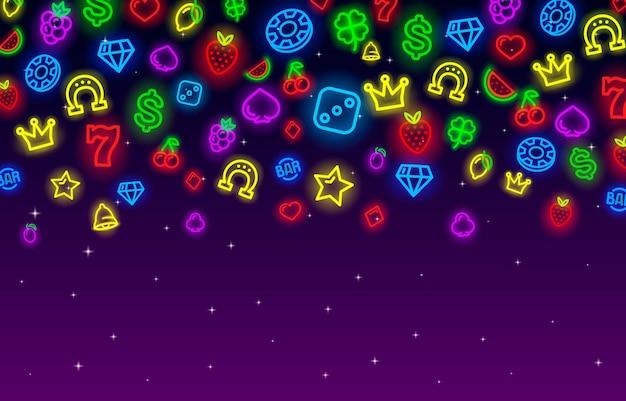 Icônes de collection de néon de casino, jeu de signe de fente, nuit vegas