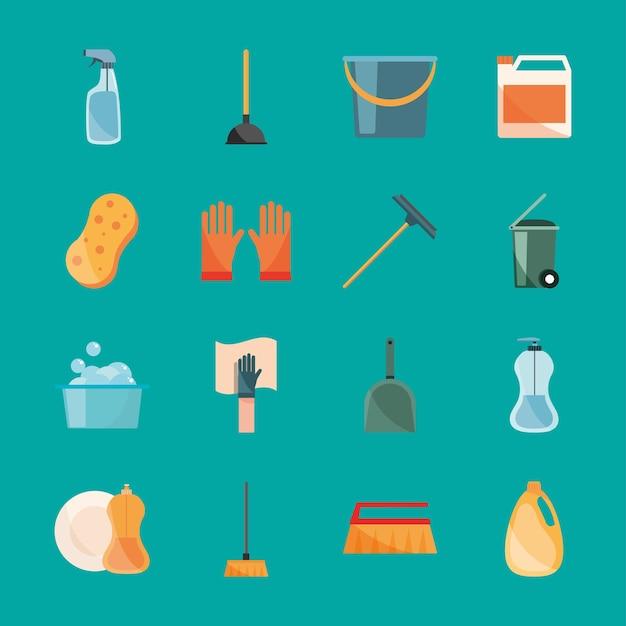Icônes de collection de nettoyage