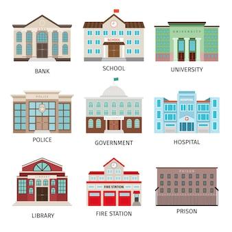 Icônes colorées de bâtiment de gouvernement d'isolement
