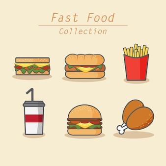 Icônes colorées de collection de restauration rapide définir le style de dessin animé de ligne art
