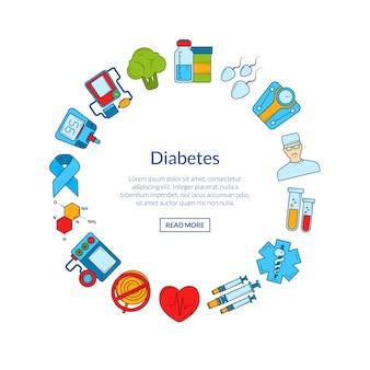 Icônes colorées du diabète en forme de cercle