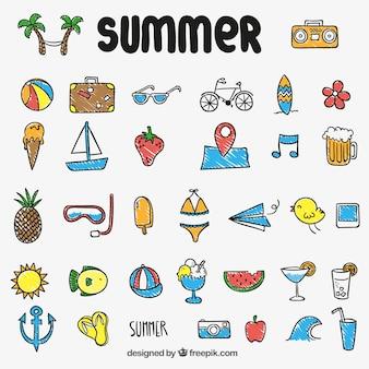 Icônes colorées d'été