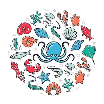 Icônes colorées de fruits de mer en illustration de conception de cercle