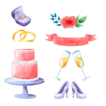 Icônes colorées d'invitation de mariage