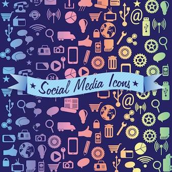 Icônes colorées de médias sociaux sur fond sombre