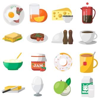 Icônes colorées de petit déjeuner