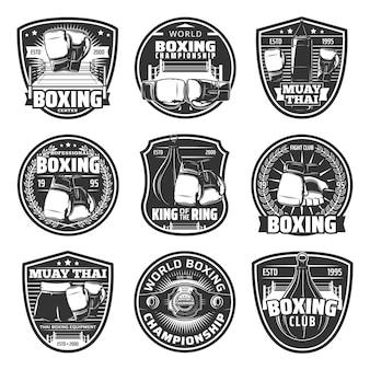 Icônes de combats simples de boxe et de muay thai