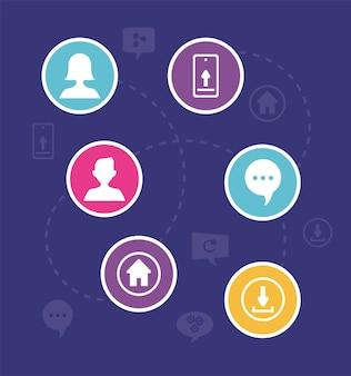 Icônes de communication en cercles