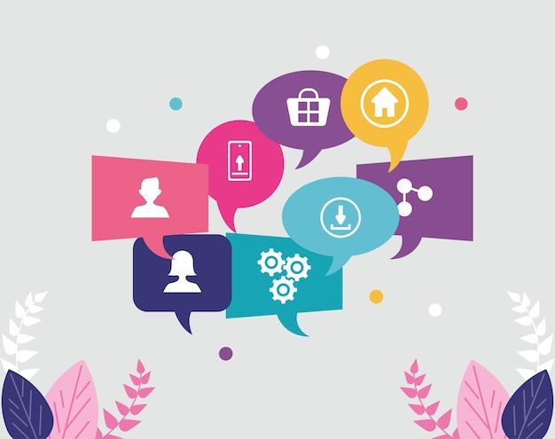 Icônes de communication dans les bulles