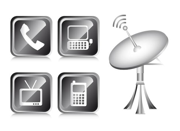 Icônes de communication sur l'illustration vectorielle fond blanc
