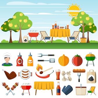 Icônes de compostion icônes barbecue pique-nique