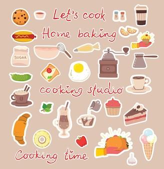 Icônes de concept d'autocollants de cuisine.