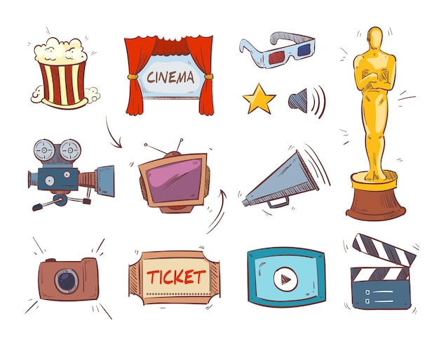 Icônes de concept de divertissement cinéma dessinés à la main.