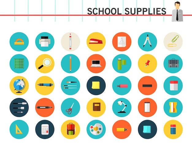 Icônes de concept de fournitures scolaires.