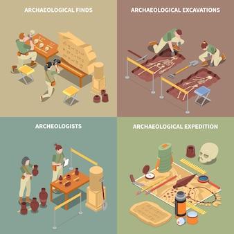 Icônes de concept isométrique d'archéologie sertie de fouilles et trouve des symboles isolés