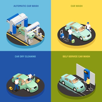 Icônes de concept de lave-auto sertie de symboles de lavage de voiture en libre service isométrique isolé