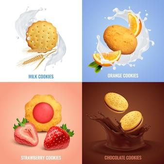 Icônes de concept réaliste de cookies sertie de symboles de goût fraise et chocolat isolés