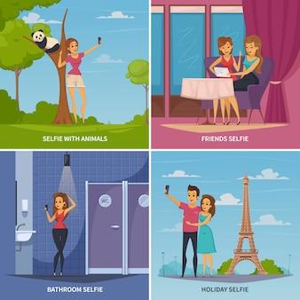 Icônes concept selfie sertie de symboles de voyage et animaux plate illustration vectorielle isolé