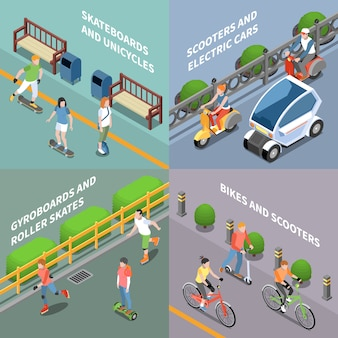 Icônes de concept de transport eco sertie de vélo et scooter isométrique isolé