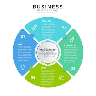 Icônes de conception de cercle infographie entreprise 4 options ou étapes