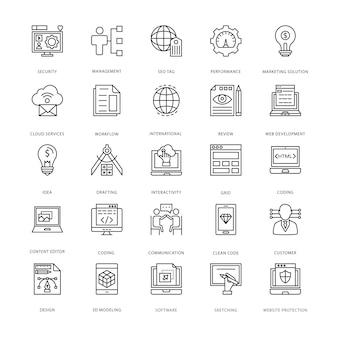 Icônes de conception et de développement web