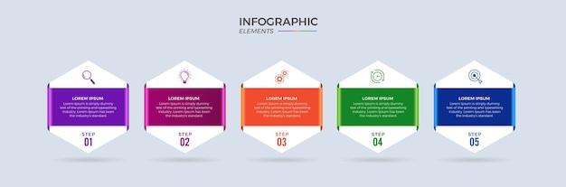 Icônes de conception infographique d'entreprise 5 options ou étapes premium