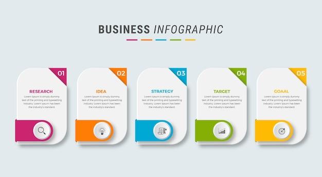 Icônes de conception infographique entreprise 5 options ou étapes