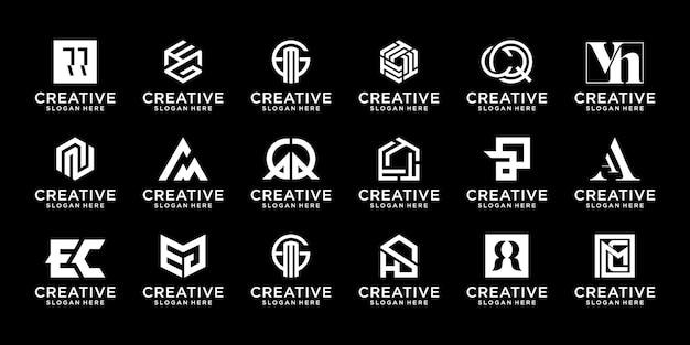 Icônes de conception de logo de collection de monogrammes initiales créatives a à z pour les entreprises de luxe élégantes et aléatoires
