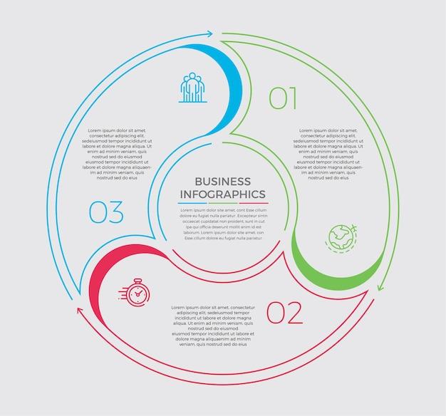 Icônes de conception et de marketing infographiques. concept d'entreprise avec 3 options, étapes ou processus.