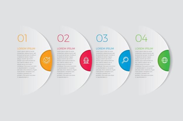Icônes de conception et de marketing infographiques. concept d'entreprise avec 4 options, étapes ou processus.