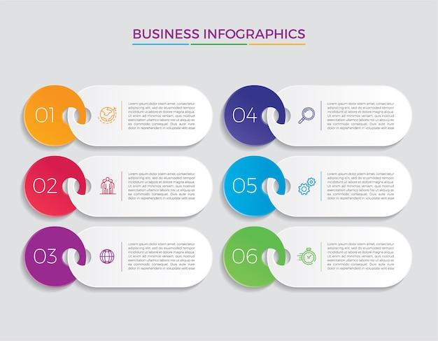 Icônes de conception et de marketing infographiques. concept d'entreprise avec 6 options, étapes ou processus.