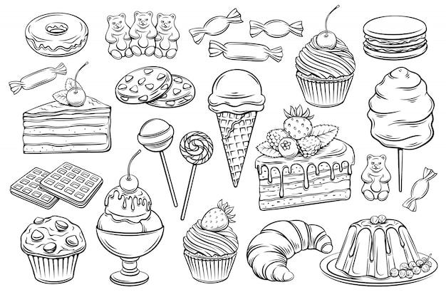 Icônes de confiserie et bonbons