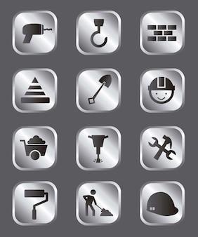 Icônes de la construction au cours de l'illustration vectorielle fond gris