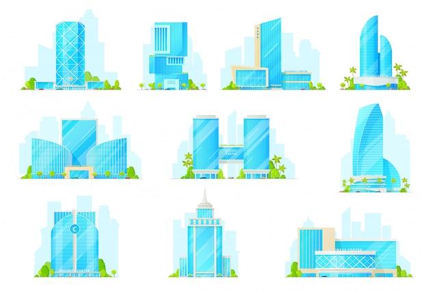 Icônes de construction de gratte-ciel, bureaux du centre d'affaires