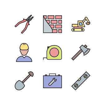 Icônes de construction isolés sur blanc