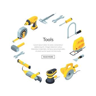Icônes de construction outils bannière isométrique en cercle