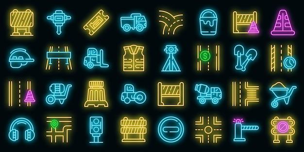 Icônes de construction de routes définies vecteur néon