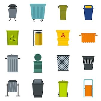 Icônes de conteneur de déchets situé dans un style plat