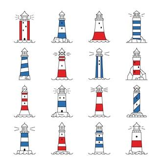 Icônes de contour de bâtiment de phare et de balise
