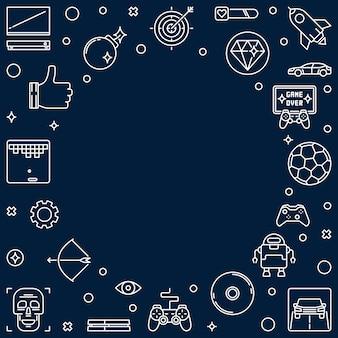 Icônes de contour de cadre de jeux vidéo