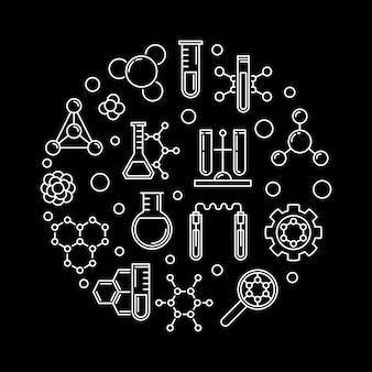 Icônes de contour de concept de biochimie