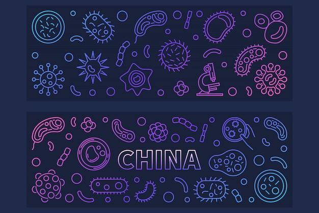 Icônes de contour concept chine virus