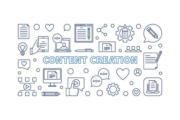 Icônes de contour de concept de création de contenu