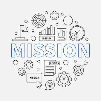 Icônes de contour de concept de mission