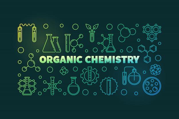 Icônes de contour de contour de chimie organique