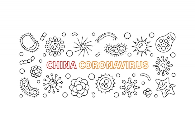 Icônes de contour de coronavirus de chine