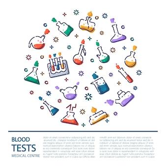 Icônes de contour dans le cadre rond - flacon de laboratoire, tasse à mesurer, tube à essai, pour le dépistage médical, expérience scientifique